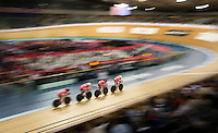 05 DEC 2014 - STRATFORD, LONDON, GBR - The Danish (DEN) team race round the track during the men's Team Pursuit qualifying round at the 2014 UCI Track Cycling World Cup  at the Lee Valley Velo Park in Stratford, London, Great Britain (PHOTO COPYRIGHT © 2014 NIGEL FARROW, ALL RIGHTS RESERVED)