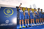 Quick-Step Floors team at sign on before the start of Stage 2 The  Ras Al Khaimah Stage of the Dubai Tour 2018 the Dubai Tour&rsquo;s 5th edition, running 190km from Skydive Dubai to Ras Al Khaimah, Dubai, United Arab Emirates. 7th February 2018.<br /> Picture: LaPresse/Massimo Paolone | Cyclefile<br /> <br /> <br /> All photos usage must carry mandatory copyright credit (&copy; Cyclefile | LaPresse/Massimo Paolone)