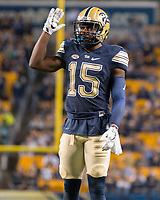 Pitt defensive back Reggie Mitchell. The Pitt Panthers defeated the Marshall Thundering Herd 43-27 on October 1, 2016 at Heinz Field in Pittsburgh, Pennsylvania.