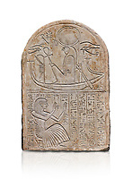 Ancient Egyptian stele dedicated to Re-Harakhty by draftsman Pay, limestone, New Kingdom, 19th Dynasty, (1292-1190 BC), Deir el-Medina, Schiaprelli cat 6144. Egyptian Museum, Turin. white background,