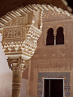 Detail of Capital, the courtyard of the Mexuar, The Mexuar Palace, 14th century, under the reign of Isma?il I, substantial alterations during the reign of Yusuf I and of his son Muhammad V, The Alhambra, Granada, Andalusia, Spain. Picture by Manuel Cohen