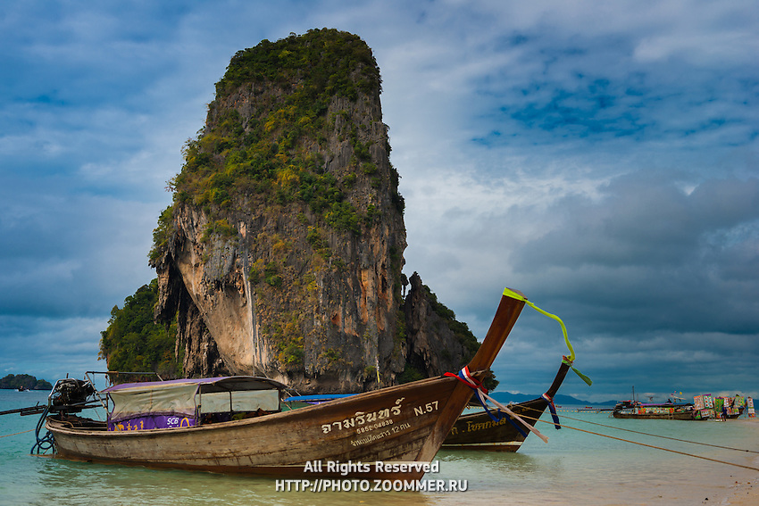 Ko Rang Nok island rock from Phra Nang beach in Krabi, Thailand
