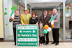 "Frank Godfrey, Anthony Lynch, Chairman and Liam Reilly of the St.Patricks Day Committee with Tony ""Socks"" Byrne, Geraldine Kelly and Maisie Kelly outside their Information Shop in The Town Centre...(Photo credit should read Jenny Matthews/www.newsfile.ie)....This Picture has been sent you under the conditions enclosed by:.Newsfile Ltd..The Studio,.Millmount Abbey,.Drogheda,.Co Meath..Ireland..Tel: +353(0)41-9871240.Fax: +353(0)41-9871260.GSM: +353(0)86-2500958.email: pictures@newsfile.ie.www.newsfile.ie."