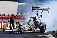 Aug. 31, 2013; Clermont, IN, USA: NHRA top fuel dragster driver Brittany Force during qualifying for the US Nationals at Lucas Oil Raceway. Mandatory Credit: Mark J. Rebilas-