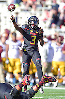 College Park, MD - OCT 15, 2016: Maryland Terrapins quarterback Tyrrell Pigrome (3) looks downfield to complete a third and long during game between Maryland and Minnesota at Capital One Field at Maryland Stadium in College Park, MD. (Photo by Phil Peters/Media Images International)