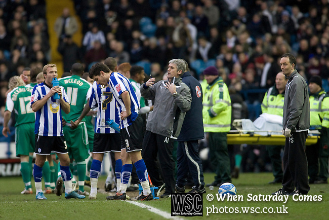 New manager Alan Irvine issuing instructions to his players during a break in play as Sheffield Wednesday take on Peterborough United in a Coca-Cola Championship match at Hillsborough Stadium, Sheffield. The home side won by 2 goals to 1 giving Alan Irvine his third straight win since taking over as Wednesday's manager.