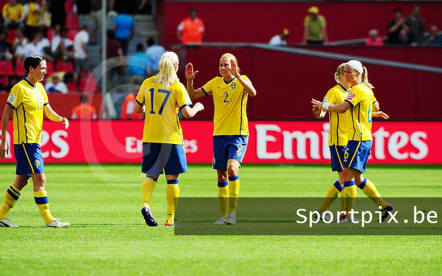 Fifa Women's World Cup Germany 2011 : Colombia - Sweden at Bayarena Leverkusen : Charlotte Rohlin blij met de overwinning.foto DAVID CATRY / Vrouwenteam.be