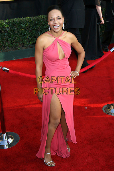 GINA RAVERA.12th Annual Screen Actors Guild Awards (SAG) held at the Shrine Auditorium, Los Angeles, California, USA..January 29th, 2006.Photo: Zach Lipp/AdMedia/Capital Pictures.Ref: ZL/ADM.full length pink dress halterneck hand on hip slit split.ww.capitalpictures.com.sales@capitalpictures.com.© Capital Pictures.