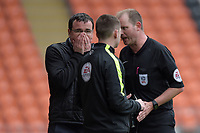 Blackpool manager Gary Bowyer is spoken to by Referee Mark Brown<br /> <br /> Photographer Terry Donnelly/CameraSport<br /> <br /> The EFL Sky Bet League Two - Blackpool v Accrington Stanley - Friday 14th April 2017 - Bloomfield Road - Blackpool<br /> <br /> World Copyright &copy; 2017 CameraSport. All rights reserved. 43 Linden Ave. Countesthorpe. Leicester. England. LE8 5PG - Tel: +44 (0) 116 277 4147 - admin@camerasport.com - www.camerasport.com