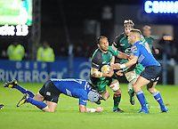 26th October 2013; George Naoupu, Connacht, is tackled by Shane Jennings and Ian Madigan, Leinster. Rabodirect Pro12, Leinster v Connacht, Royal Dublin Society, Dublin. Picture credit: Tommy Grealy/actionshots.ie.
