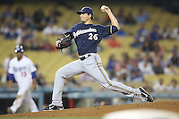 05/31/12 Los Angeles, CA: Milwaukee Brewers relief pitcher Manny Parra #26 during an MLB game between the Milwaukee Brewers and the Los Angeles Dodgers played at Dodger Stadium. The Brewers defeated the Dodgers 6-2.