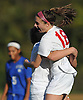Rachel Florenz #18 of East Islip, right, gets congratulated after scoring a goal with 7:48 remaining to break a scoreless tie in a Suffolk County Class AA varsity girls soccer first round playoff game against North Babylon at East Islip High School on Monday, Oct. 24, 2016. East Islip won by a score of 1-0.