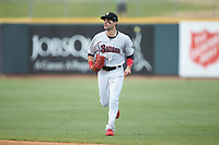 Birmingham Barons outfielder Luis Gonzalez (8) jogs off the field between innings of the game against the Pensacola Blue Wahoos at Regions Field on July 7, 2019 in Birmingham, Alabama. The Barons defeated the Blue Wahoos 6-5 in 10 innings. (Brian Westerholt/Four Seam Images)