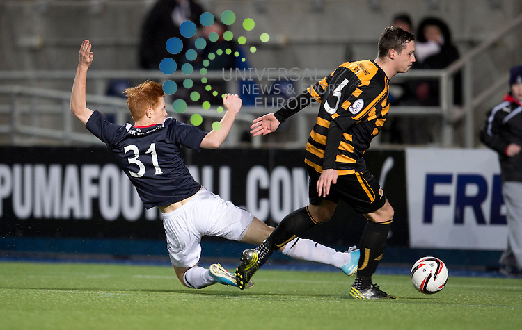 Scott Shepherd of Falkirk  gets a shot on goal during the Scottish Championship match between Falkirk and Alloa at The Falkirk Stadium, Falkirk. 28 December 2013. Picture by Ian Sneddon / Universal News and Sport (Scotland). All pictures must be credited to www.universalnewsandsport.com. (Office) 0844 884 51 22.