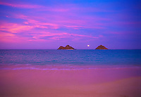 Moonrise at Lanikai beach with Moku Lua islands, Oahu