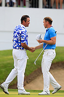 Scott Hend (AUS) and Danny Willet (ENG) on the 18th during round 3 of the 2016 BMW PGA Championship. Wentworth Golf Club, Virginia Water, Surrey, UK. 28/05/2016.<br /> Picture Fran Caffrey / Golffile.ie<br /> <br /> All photo usage must carry mandatory copyright credit (© Golffile   Fran Caffrey)