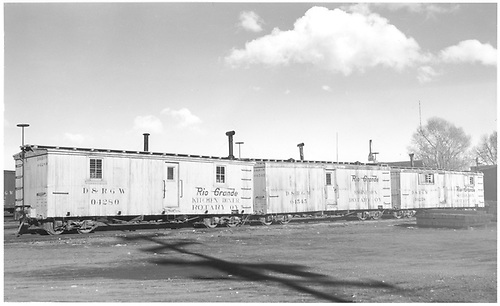Rotary OY consist:  kitchen/diner 4280, enginemen's bunk 04545, sectionmen bunk 04258 at Alamosa.<br /> D&amp;RGW  Alamosa, CO  Taken by Richardson, Robert W. - 1/29/1949