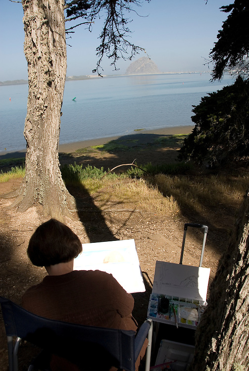 California, San Luis Obispo County: Morro Rock State Park, with Morro Rock, artists painting Morro Rock, rangers leading walks, and a heron rookery..Photo caluis172-70890..Photo copyright Lee Foster, www.fostertravel.com, 510-549-2202, lee@fostertravel.com
