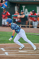 Matt Cogen (49) of the Ogden Raptors bats against the Billings Mustangs at Lindquist Field on August 17, 2018 in Ogden, Utah. Billings defeated Ogden 6-3. (Stephen Smith/Four Seam Images)