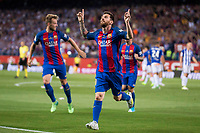 FC Barcelona's forward Leo Messi celebrating a goal during Copa del Rey (King's Cup) Final between Deportivo Alaves and FC Barcelona at Vicente Calderon Stadium in Madrid, May 27, 2017. Spain.<br /> (ALTERPHOTOS/BorjaB.Hojas) /NortePhoto.com