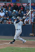 Ty France (25) of the Tri-City Dust Devils bats during a game against the Vancouver Canadians at Nat Bailey Stadium on July 23, 2015 in Vancouver, British Columbia. Tri-City defeated Vancouver, 6-4. (Larry Goren/Four Seam Images)