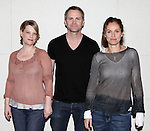 """Kellie Overbey, Lee Tergesen & Amy Brenneman.attending the Meet & Greet for the Playwrights Horizons production of """"Rapture, Blister, Burn'  at their rehearsal studio in New York City on 4/17/2012"""