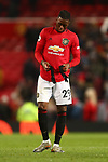 Aaron Wan-Bissaka of Manchester United dejected during the Premier League match at Old Trafford, Manchester. Picture date: 1st December 2019. Picture credit should read: Phil Oldham/Sportimage