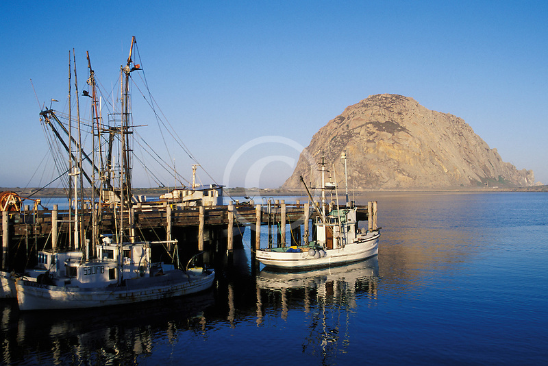 California, San Luis Obispo County, Morro Bay harbor, fishing boats and Morro Rock