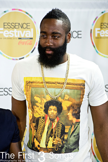 James Harden appears with Trey Songs in the press room at the 2013 Essence Festival at the Mercedes-Benz Superdome in New Orleans, Louisiana.