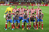 BUKARESZT 09.05.2012 druzyna grupa grupowe.MECZ FINAL LIGA EUROPY SEZON 2011/12: ATLETICO MADRYT - ATHLETIC BILBAO --- UEFA EUROPA LEAGUE FINAL 2012 IN BUCHAREST: CLUB ATLETICO DE MADRID - ATHLETIC CLUB DE BILBAO.THIBAUT COURTOIS  FILIPE LUIS  MARIO SUAREZ  GABI  MIRANDA  DIEGO GODIN  FALCAO  ARDA TURAN  JUANFRAN  DIEGO  ADRIAN LOPEZ.FOT. PIOTR KUCZA.---.Newspix.pl