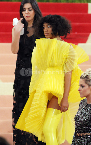 05 02 2016: Solange Knowles at Manus X Machina: Fashion In An Age of Technology at Metropolitan Museum of Art in New York. Credit:RWMediaPunch