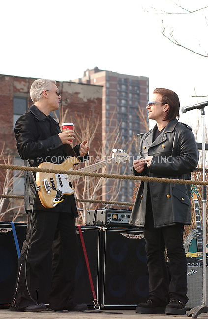 "WWW.ACEPIXS.COM . . . . . ....NEW YORK, NOVEMBER 22, 2003....Adam Clayton and Bono filming a promotional video for the new U2 album ""How to Dismantle an Atomic Bomb"" in NYC.....Please byline: ACE006 - ACE PICTURES.. . . . . . ..Ace Pictures, Inc:  ..Alecsey Boldeskul (646) 267-6913 ..Philip Vaughan (646) 769-0430..e-mail: info@acepixs.com..web: http://www.acepixs.com"