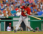 11 July 2008: Houston Astros' first baseman Lance Berkman in action against the Washington Nationals at Nationals Park in Washington, DC. The Nationals shut out the Astros 10-0 in the first game of their 3-game series...Mandatory Photo Credit: Ed Wolfstein Photo