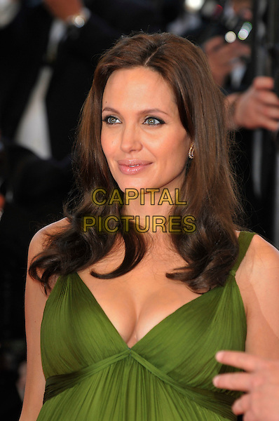 "ANGELINA JOLIE.""Kung Fu Panda"" Gala Premiere at the 61st Annual International Cannes Film Festival, Cannes, France, 15 May 2008..portrait half length green dress pregnant cleavage bust.CAP/PL.© Phil Loftus/Capital Pictures"
