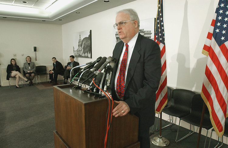 4/24/02.IMMIGRATION AND NATURALIZATION SERVICE RESTRUCTURING--House Judiciary Committee Chairman F. James Sensenbrenner, R-Wis., during a news conference on his bill to revamp the INS. U.S. Attorney General John Ashcroft was slated to appear with Sensenbrenner, but he had to reschedule at the last minute for tomorrow..CONGRESSIONAL QUARTERLY PHOTO BY SCOTT J. FERRELL