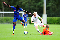 Arnor Gudjohnsen of Swansea City is fouled by Karlo Ziger of Chelsea during the Premier League u18 match between Swansea City AFC and Chelsea FC at Landore Training Ground, Wales, UK. Tuesday 11th September 2018