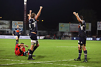 Thomas Murday and Denis Marchois of Agen celebrate victory during the French Top 14 match between Agen and Toulon at Stade Armandie on November 4, 2017 in Agen, France. (Photo by Manuel Blondeau/Icon Sport)