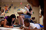 Rural Connections scholar Catherine Schlenker, 13, center, works surrounded by her fellow students including from left: Abigail Melton, 13, Grace Lee, 13, Nadir Dunns-Thornes, 13, and Jayna Viswalingam, 13, far right, in Geometry Through Art class during Center for Talented Youth summer program at Lafayette College in Easton, PA on July 06, 2012. Several students were part of the Rural Connections scholarship program being offered for the first time this year.