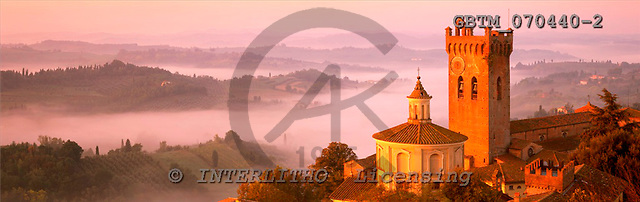 Tom Mackie, LANDSCAPES, panoramic, photos, Mist below San Miniato, Tuscany, Italy, GBTM070440-2,#L#
