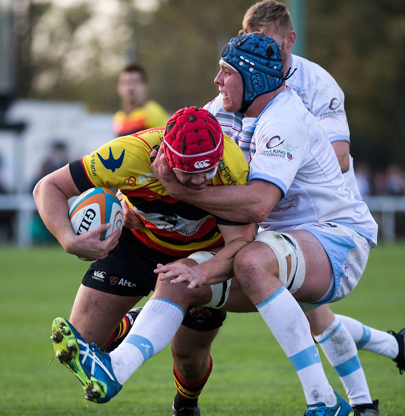 Richmond Rugby&rsquo;s Toby Saysell in action during todays match<br /> <br /> Photographer Bob Bradford/CameraSport<br /> <br /> Rugby Union - British and Irish Cup Pool 4 - Richmond v Rotherham Titans - Saturday 21st October 2017 - The Athletic Ground - Richmond<br /> <br /> World Copyright &copy; 2017 CameraSport. All rights reserved. 43 Linden Ave. Countesthorpe. Leicester. England. LE8 5PG - Tel: +44 (0) 116 277 4147 - admin@camerasport.com - www.camerasport.com