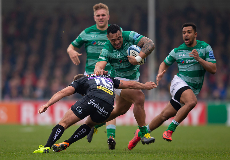 Newcastle Falcons' Sinoti Sinoti is tackled by Exeter Chiefs' Santiago Cordero<br /> <br /> Photographer Bob Bradford/CameraSport<br /> <br /> Gallagher Premiership - Exeter Chiefs v Newcastle Falcons - Saturday 23rd February 2019 - Sandy Park - Exeter<br /> <br /> World Copyright © 2019 CameraSport. All rights reserved. 43 Linden Ave. Countesthorpe. Leicester. England. LE8 5PG - Tel: +44 (0) 116 277 4147 - admin@camerasport.com - www.camerasport.com