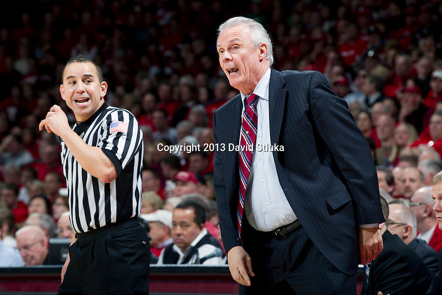 Wisconsin Badgers Head Coach Bo Ryan looks on during a Big Ten Conference NCAA college basketball game against the Purdue Boilermakers Sunday, March 3, 2013, in Madison, Wis. Purdue won 69-56. (Photo by David Stluka)