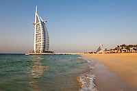 United Arab Emirates, Dubai: View along beach to the Burj Al Arab and Jumeirah Beach Hotel