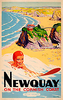 BNPS.co.uk (01202 558833)<br /> Pic: DavidLayFRICS/BNPS<br /> <br /> PICRTURED: A striking poster advertising Newquay.<br /> <br /> A wonderful collection of vintage British travel posters celebrating the golden age of the seaside getaway have emerged for sale for £15,000.<br /> <br /> The posters were produced by Great Western Railway and British Railways between the 1930s to the 1960s to encourage Brits to holiday on the Cornish coast.<br /> <br /> The collection of about 30 posters has been put together by a private collector over the past two decades who is now selling them with auction house David Lay FRICS, of Penzance, Cornwall.
