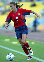 20 August 2004:   Brandi Chastain in action against Japan during the quarterfinals at Kaftanzoglio Stadium in Thessaloniki, Greece.     USA defeated Japan, 2-1 .   Credit: Michael Pimentel / ISI