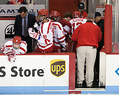 Clayton Keller (BU - 19), David Quinn (BU - Head Coach), Jordan Greenway (BU - 18), Nick Roberto (BU - 15), Nikolas Olsson (BU - 13), Larry Venis (BU - Assistant Director-Athletic Training Services), Mike DiMella (BU - Equipment Manager) - The visiting Merrimack College Warriors defeated the Boston University Terriers 4-1 to complete a regular season sweep on Friday, January 27, 2017, at Agganis Arena in Boston, Massachusetts.The visiting Merrimack College Warriors defeated the Boston University Terriers 4-1 to complete a regular season sweep on Friday, January 27, 2017, at Agganis Arena in Boston, Massachusetts.