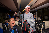 LYON,  - JULY 7: Ashlyn Harris #18 and Graeme Abel ride the bus during a game between Netherlands and USWNT at Stade de Lyon on July 7, 2019 in Lyon, France.
