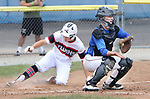 TORRINGTON CT. 28 July 2017-072817SV05-#11 Jeff Nicol of Wolcott Storm gets the late throw at the plate as #8 Matt Bailey of Dallas Forth Worth scores in the 3rd inning during the Mickey Mantle World Series in Torrington Friday.<br /> Steven Valenti Republican-American