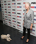"""Glenn Close with her dog Pip attends the Opening Night Celebration for """"Mother of the Maid"""" on October 18, 2018 at the Public Theatre in New York City."""