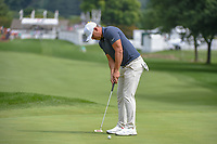 Brooks Koepka (USA) sinks his putt on 1 during 1st round of the World Golf Championships - Bridgestone Invitational, at the Firestone Country Club, Akron, Ohio. 8/2/2018.<br /> Picture: Golffile | Ken Murray<br /> <br /> <br /> All photo usage must carry mandatory copyright credit (© Golffile | Ken Murray)